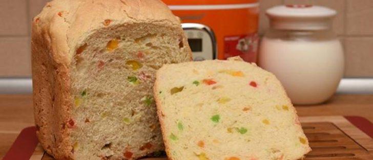 Хліб з цукатами і родзинками в хлібопічці