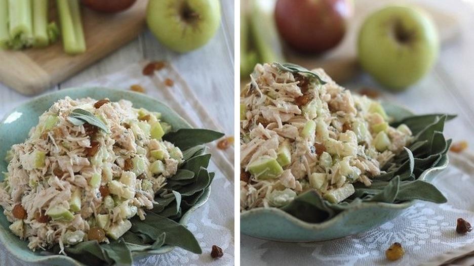 Салат із курятини з яблуками та родзинками