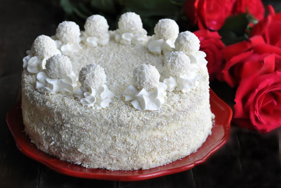 Торт «Рафаелло» без випікання