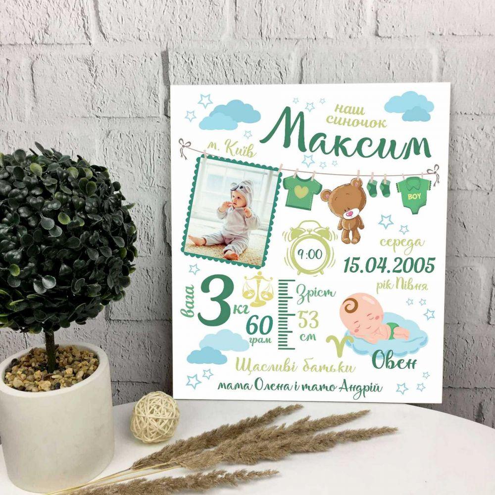 Метрика постер для дітей до 3 років. Подарунок на Новий рік