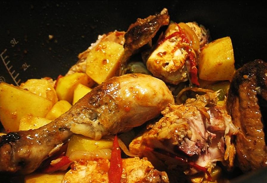 Как сделать картошку и курицы в мультиварке