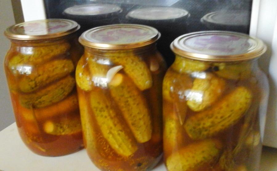 Огірки з кетчупом чілі рецепт на 1 літрову банку