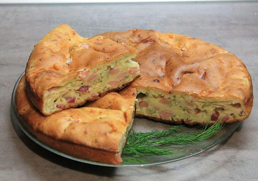 Пирог закусочный с ветчиной и сыром рецепт